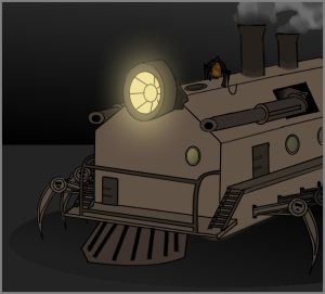 A kinetopede; the steam-engine that takes you through the House. Like a train, but with more legs.