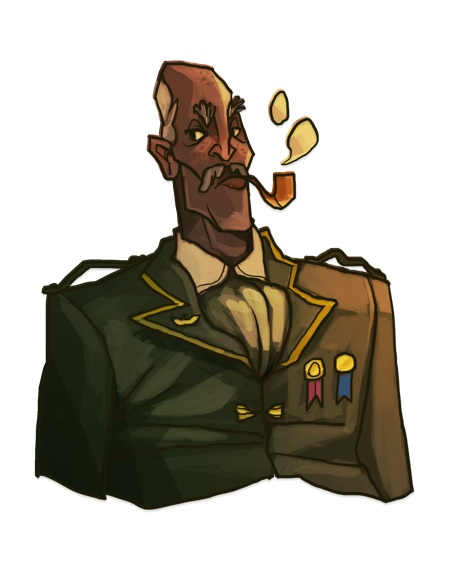 Catherine's rendition of Augustus Ribbins, a Pilot who can join the player's crew.